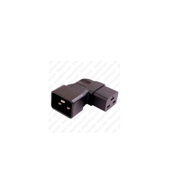 IEC 60320 C20 Plug to IEC 60320 C19 Connector Left Angle Block Adapter - Black - CE