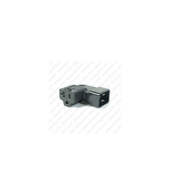 C20 Male to North America NEMA 5-15/20 T-Slot Female Right Angle Block Adapter - Black