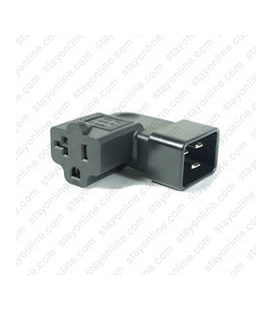 C20 Male to North America NEMA 5-15/20 T-Slot Female Left Angle Block Adapter - Black