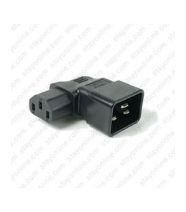 IEC 60320 C20 Plug to IEC 60320 C13 Right Angle Connector Block Adapter - Black