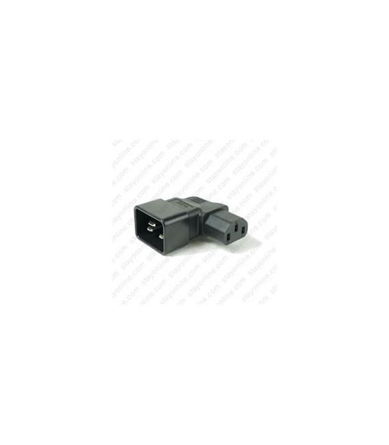 IEC 60320 C20 Plug to IEC 60320 C13 Left Angle Connector Block Adapter - Black