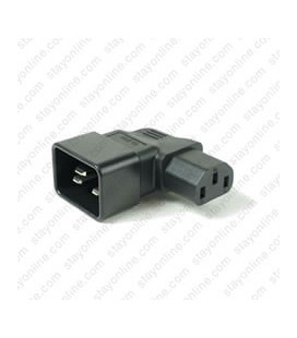 IEC 60320 C20 Plug to IEC 60320 C13 Left Angle Connector Block Adapter - Black
