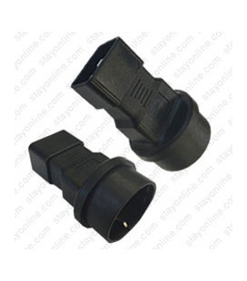 C20 Male to Schuko CEE7/7 Female Connector Block Adapter - Black