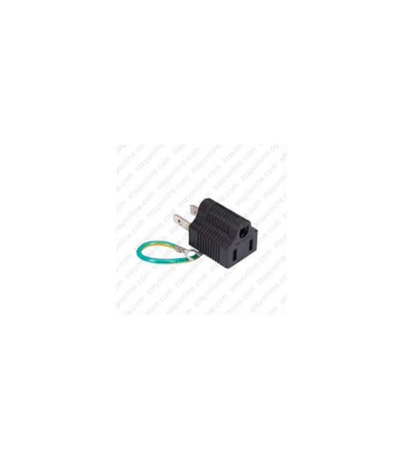 North America NEMA 1-15 Plug to NEMA 5-15 Connector Block Adapter - Black