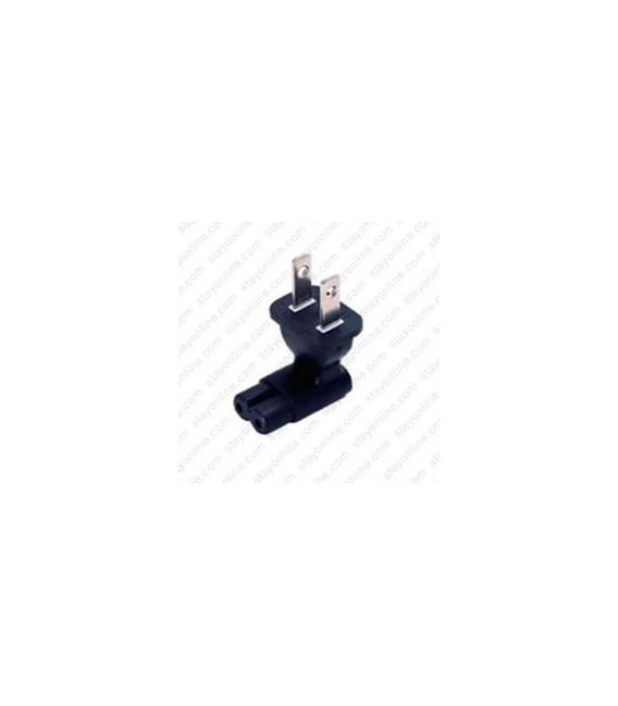 North America NEMA 1-15 Plug to C7 Up/Down Connector Block Adapter - Black