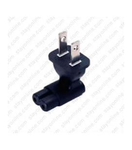 North America NEMA 1-15 Plug to C7 Up/Down Connector Block Adapter - Black
