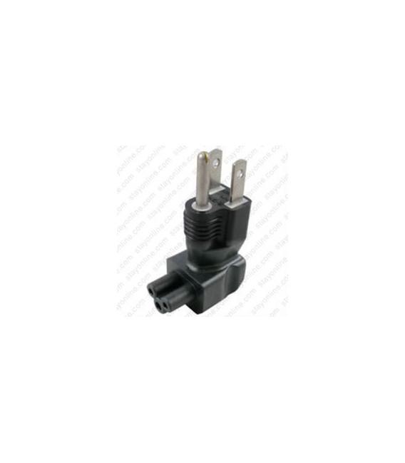 North America NEMA 5-15 Plug to C5 Connector Angled Up Block Adapter - Black