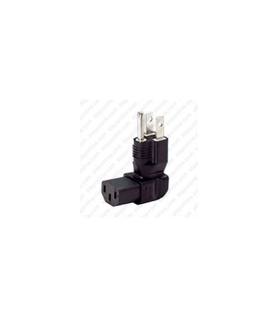 North America NEMA 5-15 Up Plug to C13 Down Connector Block Adapter - Black
