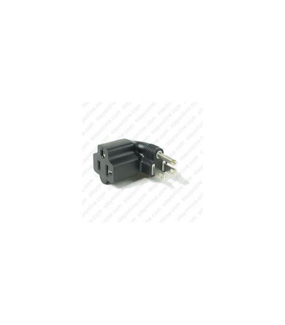 North America NEMA 5-15 Plug to NEMA 5-15/20 Right Connector Block Adapter - Black