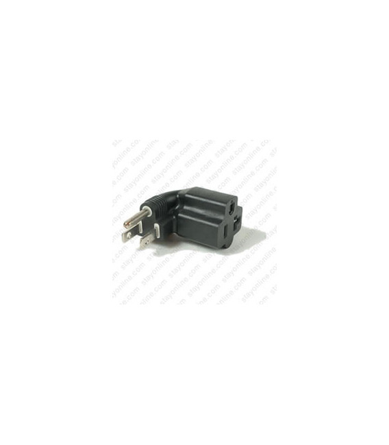 North America NEMA 5-15 Plug to NEMA 5-15/20 Left Connector Block Adapter - Black