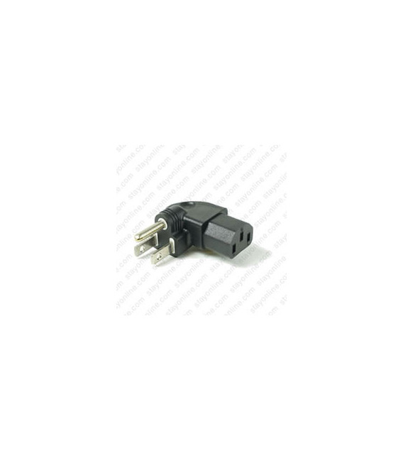 North America NEMA 5-15 Plug to C13 Left Connector Block Adapter - Black