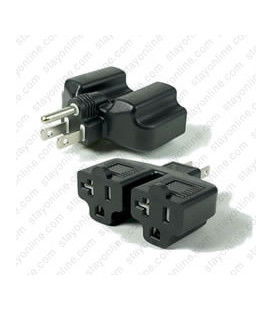 North America NEMA 5-15 Plug to x2 NEMA 5-15/20 Connector Block Adapter - Black