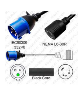 IEC 60309 332P6 Male Plug to Locking L6-30 Female Connector 0.3 Meter Plug Adapter Cord H05VV-F 3x4.0 - Black