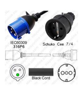 IEC 60309 316P6 Plug to Schuko CEE 7/4 Female 0.3 Meter Plug Adapter Cord H05VV-F 3x1.5 - Black