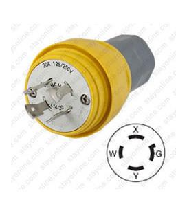 Hubbell HBL26W74H NEMA L14-20 Yellow Male Plug - Watertight