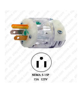 Hubbell HBL8215CT NEMA 5-15 Hospital Grade Male Plug - Clear