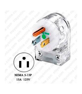 Hubbell HBL8215CAT NEMA 5-15 Hospital Grade Angled Entry Male Plug - Clear