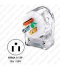 Hubbell HBL8215CAT NEMA 5-15 Hospital Grade Angled Entry Male Plug - Clear
