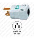 Hubbell HBL8115V NEMA 5-15 Hospital Grade Male Plug - Valise, White