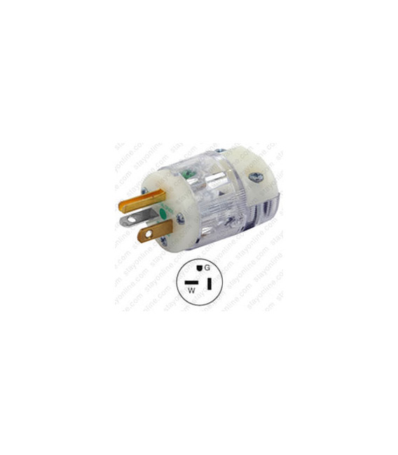 Hubbell HBL8315CT NEMA 5-20 Hospital Grade Male Plug - Clear