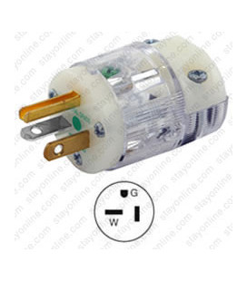 Hubbell HBL8315CT NEMA 5-20 Hospital Grade Male Plug - Clear