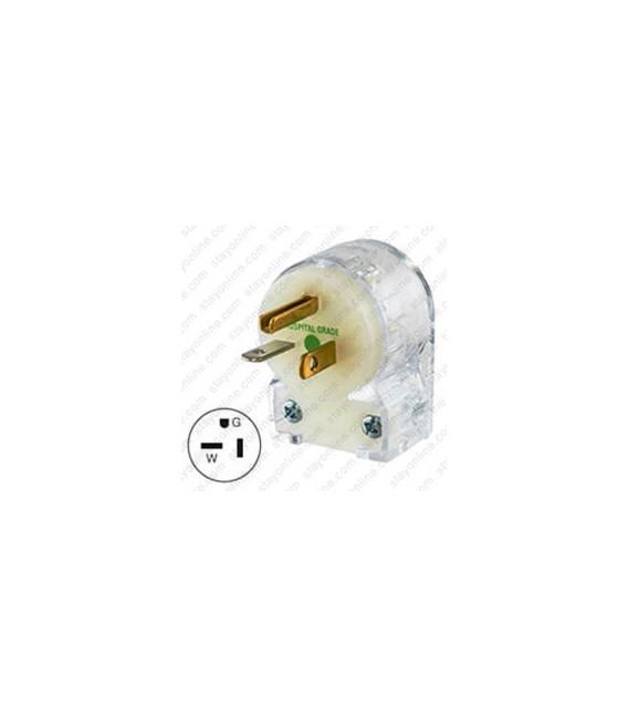 Hubbell HBL8315CAT NEMA 5-20 Hospital Grade Angled Entry Male Plug - Clear