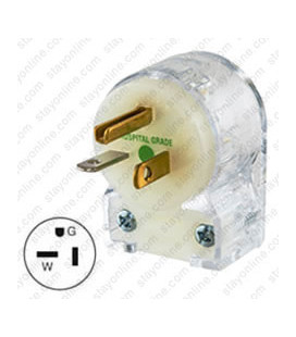Hubbell HBL8315CAT NEMA 5-20 Hospital Grade Angled Entry Male Plug - Clear