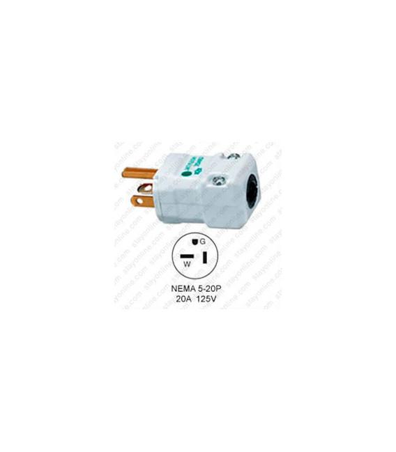 Hubbell HBL8364V NEMA 5-20 Hospital Grade Male Plug - Valise, White