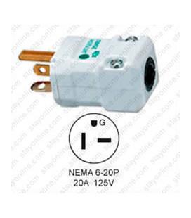 Hubbell HBL8464V NEMA 6-20 Hospital Grade Male Plug - Valise, White