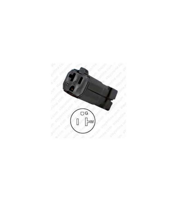 Hubbell HBL5369VBK NEMA 5-20 Female Connector - Valise, Black