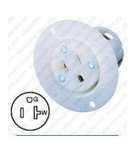 Hubbell HBL5379C NEMA 5-20 Flanged Female Outlet - White