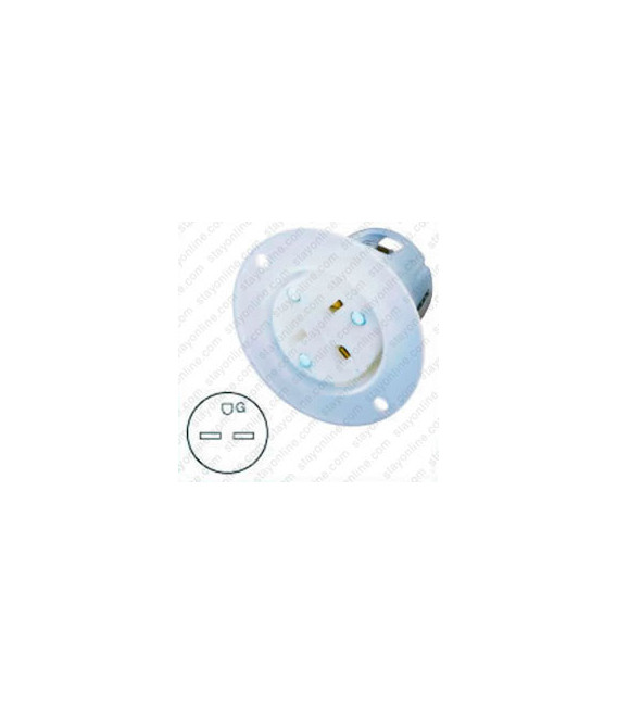 Hubbell HBL5679C NEMA 6-15 Flanged Female Outlet - White