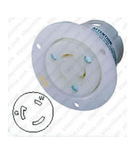 Hubbell HBL2316 NEMA L5-20 Flanged Female Outlet - White
