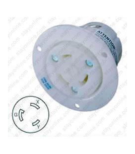 Hubbell HBL2626 NEMA L6-30 Flanged Female Outlet - White