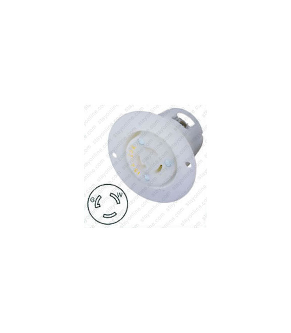 Hubbell HBL4715C NEMA L5-15 Flanged Female Outlet - White