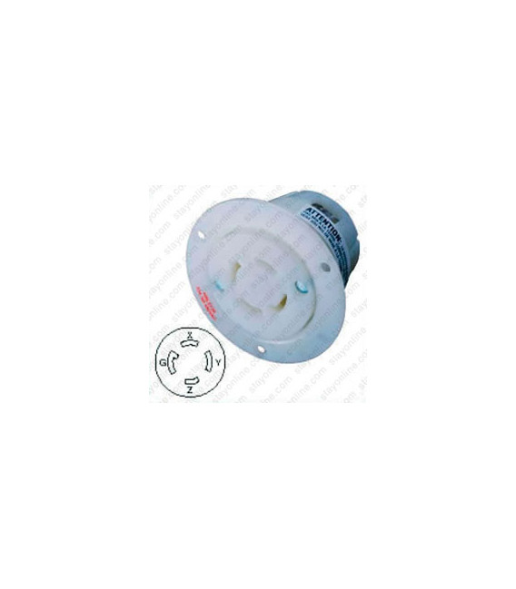 Hubbell HBL2736 NEMA L16-30 Flanged Female Outlet - White