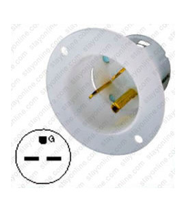 Hubbell HBL5678C NEMA 6-15 Male Inlet - White