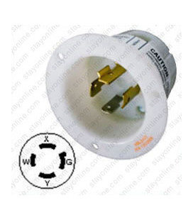 Hubbell HBL2415 NEMA L14-20 Male Inlet - White