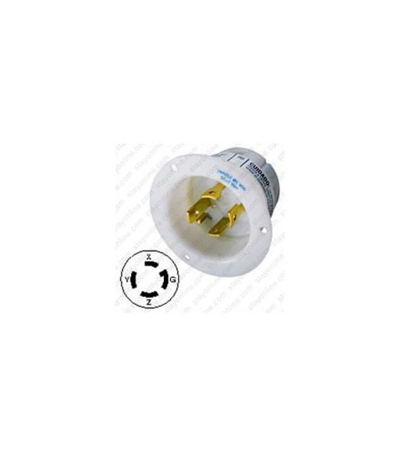 Hubbell HBL2725 NEMA L15-30 Male Inlet - White