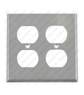 Hubbell SS82 Wall Plate AC 2 Gang 2 Duplex Standard Stainless Steel