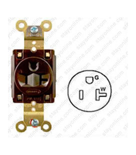 Hubbell HBL5361 NEMA 5-15/20 Industrial Grade Female T-Slot Receptacle - Simplex, Brown