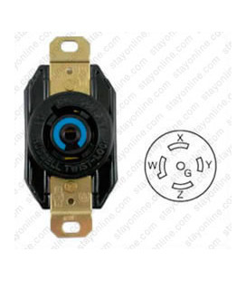 Hubbell HBL2510 NEMA L21-20 Female Receptacle - 20 Amp, 120/208 Volt, Black