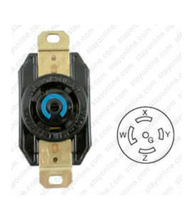 Hubbell HBL2810 NEMA L21-30 Female Receptacle - 30 Amp, 120/208 Volt, Black