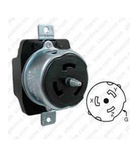 Hubbell CS8369 California Standard Female Receptacle - 50 Amp, 3-Phase 250 Volt, Black