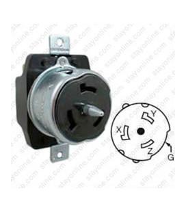 Hubbell CS8169 California Standard Female Receptacle - 50 Amp, 3-Phase 480 Volt, Black