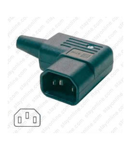 AC Plug IEC 60320 C14 Male Right Angle 15 Amp 250 Volt Straight Entry