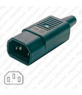 AC Plug IEC 60320 C14 Male Plug 15 Amp 125/250 Volt Straight Entry