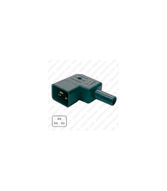 AC Plug IEC 60320 C20 Male Left Angle 16 Amp 250 Volt Straight Entry