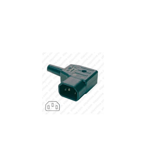 AC Plug IEC 60320 C14 Male Right Angle 10 Amp 250 Volt Straight Entry