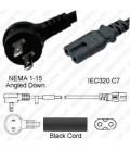 NEMA 1-15 Up/Down Male to C7 Female 1.8 Meters 10 Amp 125 Volt 18/2 SPT-2 Black Power Cord